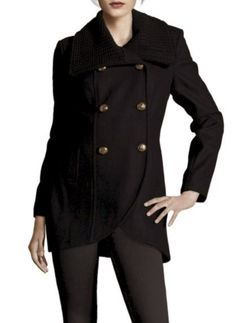 Wool Coat With Knit Trim Collar In Black