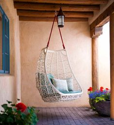 Santa Fe Furniture Stores Southwestern Patio and Adobe Brick Paving Clean Egg Chair Exposed Beams Hanging Chair Modern Outdoor Cushions Patio Furniture Stucco Swing Swing Design, Patio Design, House Design, Chair Design, Patio Plus, Patio Swing, Swing Beds, Swing Chairs, Porch Swings