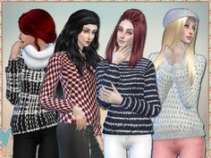 4 glamorous sweaters to keep your sims warm in the remaining cold months.  Found in TSR Category 'Sims 4 Female Everyday'