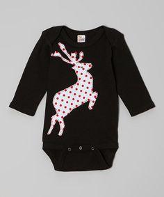 Look at this #zulilyfind! Black & White Polka Dot Reindeer Bodysuit - Infant #zulilyfinds
