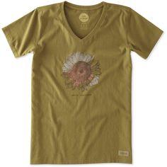 Women's Hello Sunshine Sunflower Crusher Vee | Life is Good® Official Site