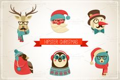 Vintage Hipster Christmas animals by Marish on Creative Market