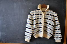 childrens hand knit cardigan sweater, vintage, cream with navy and light blue, cute cardigan