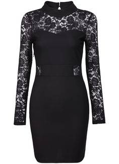 Black Lace Long Sleeve Hollow Bodycon Dress - Sheinside.com