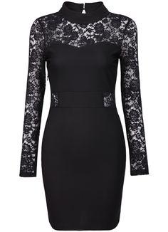 Shop Black Lace Long Sleeve Hollow Bodycon Dress online. Sheinside offers Black Lace Long Sleeve Hollow Bodycon Dress & more to fit your fashionable needs. Free Shipping Worldwide!