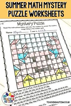 Are you looking for fun and engaging math worksheets to use with your kids this summer? If so, these summer math mystery puzzle worksheets are perfect to add to your math activities. - Education and lifestyle Teaching First Grade, First Grade Classroom, Special Education Classroom, Autism Classroom, Printable Math Worksheets, Tracing Worksheets, Worksheets For Kids, Free Printables, End Of Year Activities