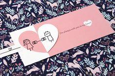 Carte relation longue Distance avec enveloppe rose carte