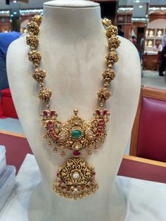 Shop at Stylizio for womens and mens designer handbags luxury sunglasses watches jewelry purses wallets clothes underwear Gold Jewellery Design, Gold Jewelry, Handmade Jewellery, Jewellery Rings, Gold Necklaces, Temple Jewellery, Bridal Jewellery, Indian Wedding Jewelry, India Jewelry