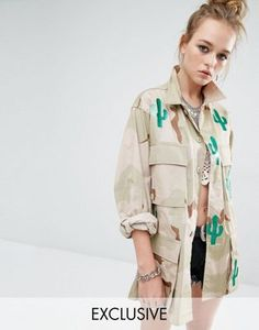 cbe030b18bfaa Reclaimed Vintage Military Jacket In Camo Print With All Over Cactus at  asos.com