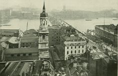London Bridge viewed from The Monument Victorian London, Vintage London, Old London, London Bridge, London City, London Museums, London Pictures, London Photos, London History