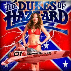 General Lee Car, Rebel Flags, Dukes Of Hazard, Daisy Duke Shorts, Punk Poster, Bus Girl, Catherine Bach, Southern Pride, Celebrity Bikini
