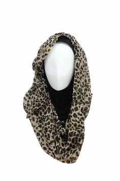 Leo Hijab Hijab description  Hijab Material: Chiffon Hijab Color: Leopard Underscarf Material: Rayon Jersey Knit Underscarf Color: Black  http://hijabila.com/product/leo-hijab/