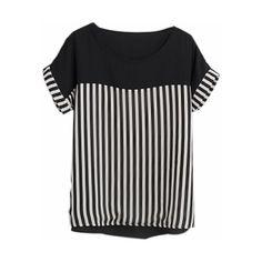 White And Black Stripes Chiffon Blouse White Chiffon Blouse, Black And White Blouse, Chiffon Shirt, Chiffon Tops, Chiffon Blouses, Black White, Fashion Pants, Emo Fashion, Fashion Dresses