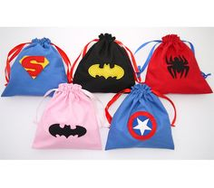 Superhero party bags spiderman, Batman, Batgirl, Superman and Captain America Superhero Party Bags, Superhero Birthday Party, Girl Birthday, Superman Party, Batman And Batgirl, Batman Spiderman, Batman Arkham, Batman Comics, Pochette Surprise