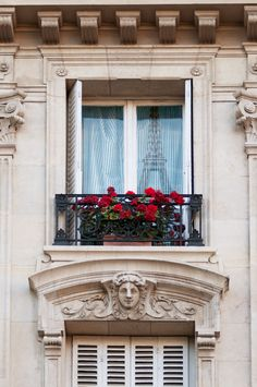 Paris balcony (there is a reflection of the Eiffel Tower in the window pane!)