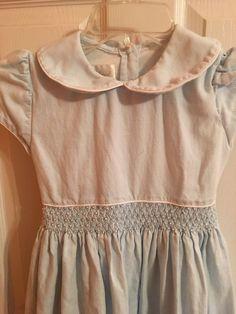Strasburg Dress Size 8 Smocked Blue & White Matching Purse and Hairbow Knee Leng #Strasbury #DressyHoliday
