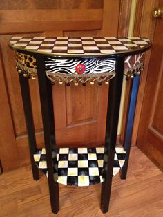 Hand Painted Half Moon Table by paintingbymichele on Etsy, $325.00