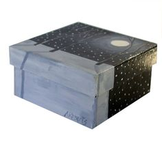 Snowy Night Sky Jewelry Gift Box Hand Painted by annarobertsart
