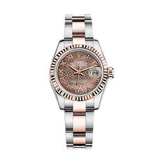 Rolex Lady-Datejust 26 179171 Rose Gold & Stainless Steel Watch (Black Mother-of-Pearl with A Pink-Gold Colour Lotus Flower Motif) | World's Best