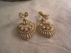 Gold Tone With White Beading Heart Shaped Screw On Earrings #DropDangle