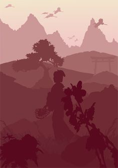 """Monochromatic Japan"" by Shmelanna Wine color is fresh. Which look elegant with your gray Space Illustration, Illustration Styles, Landscape Illustration, Vector Illustrations, Color Optical Illusions, Landscape Silhouette, South African Art, Monochromatic Color Scheme, High School Art"