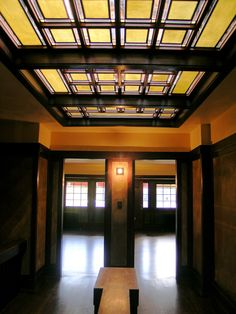 View from the landing of Frank Lloyd Wright's Westcott House. This work was done by The Durable Restoration Company.