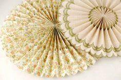 "8 Gold Glitter Vintage Paper Rosettes Party Decorations 8""-17"""