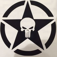 Two Black Jeep Army Punisher Star Decals 4x4 #Jeep