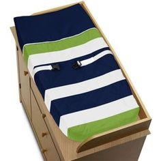 Sweet Jojo Designs Navy and Lime Stripe Changing Pad Cover - BedBathandBeyond.com