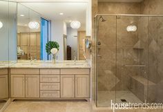 Bathroom mirrors reflect a gorgeous design