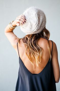 Slouchy beanie comfy dress and great bracelets