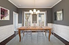 dining rooms - Benjamin Moore - Amherst Gray - dining room charcoal gray purple picture molding acryclic chandelier mirror table chairs rustic table clear chairs beadboard