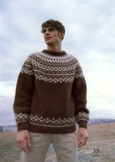 Great site for custom knit Icelandic sweaters Sweater Knitting Patterns, Knitting Designs, Fair Isle Knitting, Knitting Yarn, Sweater Jacket, Men Sweater, Icelandic Sweaters, A Boutique, Pattern Fashion