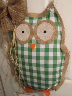Owl Burlap Door Hanger Green Check Pattern by nursejeanneg on Etsy, $30.00
