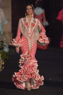Traje Flamenca Coral Lunares crudo Popelin