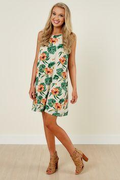 Head To The Sun Tan Print Dress at reddressboutique.com