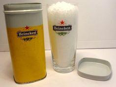 1 Vintage Heineken Beer Glass In Yellow Collectors Tin Dutch Barware Advertising | eBay