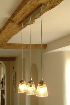 Paris Ceiling Light Trio - Collection of Three Fluted Interior Lights - Garden Trading company Overhead Kitchen Lighting, Kitchen Lighting Over Table, Dining Table Lighting, Kitchen Ceiling Lights, Kitchen Pendant Lighting, Kitchen Pendants, Glass Pendant Light, Ceiling Pendant, Pendant Lights
