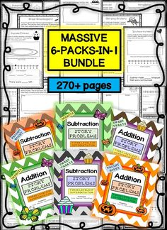 This 270+ paged ADDITION AND SUBTRACTION STORY PROBLEM bundle is differentiated (three levels) to challenge and engage your students -- whatever their ability level. Simply print the sheets, assemble them in booklets and start using immediately! It makes math centers fun, morning work a breeze and lesson preparation easy!
