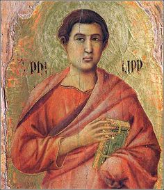 "Apostle Philip by Duccio, ca. 1308. Philip seems to be seriously contemplating ""wise as a serpent"" in this proto-Renaissance depiction."