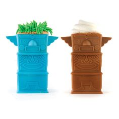 """Kikkerland Totem Cupcakes Set    The Kikkerland Totem Cupcakes Set is inventive, witty, and smartly designed. Being fabulous and functional it will make the perfect addition to any kitchen pantry.    Product: Set of 3 cupcake molds  Color: Blue and brown  Construction Material: Silicone  Features: Totem pole design  Size: 4.92"""" H x 3.14"""" W x 4.13"""" D each"""