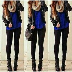 Perfect autumn outfit- high heels, scarf and thin jacket.