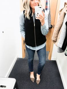 Crew factory try on - fall 2018 red white & denim fall outfits ideas for women casual comfy and simple Vest Outfits For Women, Fall Outfits For Work, Fall Fashion Outfits, Fall Fashion Trends, Fall Winter Outfits, Autumn Winter Fashion, Clothes For Women, Fall Trends, Winter Style