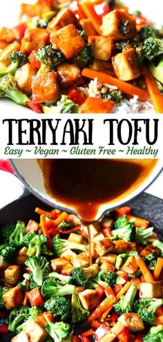 Easy teriyaki tofu is a quick and easy, healthy, flavorful meal that the whole f. - Easy teriyaki tofu is a quick and easy, healthy, flavorful meal that the whole family will love! Vegan Dinner Recipes, Vegan Dinners, Healthy Recipes, Vegetarian Recipes For Families, Vegan Recipes Easy Cheap, Sugar Free Recipes Dinner, Gluten Free Vegan Recipes Dinner, Firm Tofu Recipes, Easy Recipes