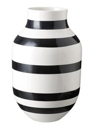 black and white striped vase.