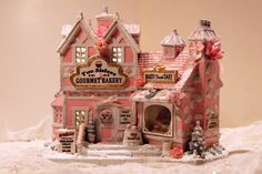 Lemax Pink & White hand painted Shabby Chic Christmas Village Two Sisters Bakery Lemax Christmas, Christmas Village Display, Christmas Village Houses, Putz Houses, Christmas Villages, Gingerbread Houses, Shabby Chic Christmas, Pink Christmas, Christmas Home