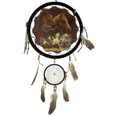 Running Horse Dream Catcher 13 inch with Feathers - BodyDazzle