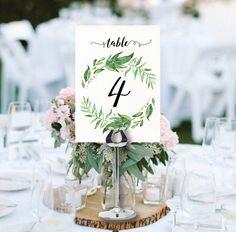 wedding table numbers printable greenery table numbers garden