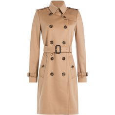Burberry London Cashmere Trench Coat ($2,345) ❤ liked on Polyvore featuring outerwear, coats, jackets, outwears, beige, red trench coat, beige coat, fitted trench coat, red coat and fitted coat