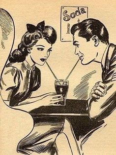 50s diner couple drawing - Google Search